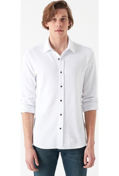 Mavi Erkek Beyaz Örme Gömlek 021324-620