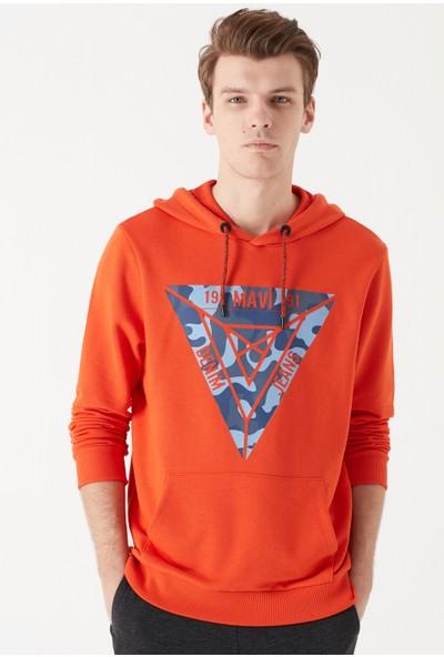 Mavi Üçgen Baskılı Turuncu Sweatshirt M
