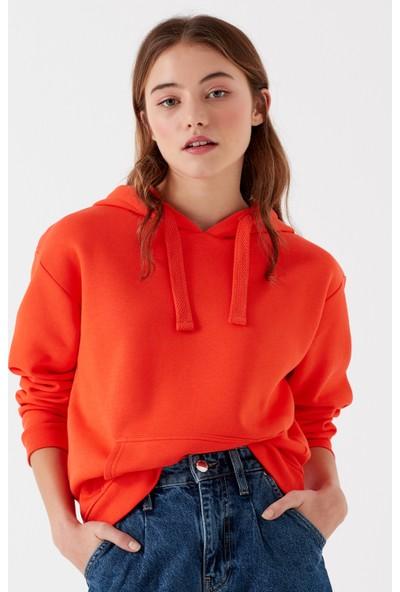 Mavi Kadın Kapüşonlu Turuncu Sweatshirt 167299-30874