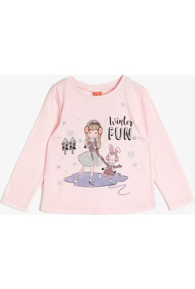 Koton Kız Bebek Sim Detaylı T-Shirt