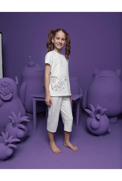 Donella Sevimli Fare Baskılı Kız Çocuk Şortlu Pijama Takım - 10067