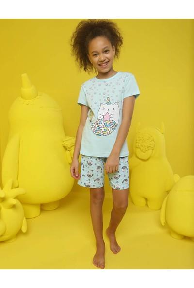 Donella Unicorn Baskılı Kız Çocuk Şortlu Pijama Takım - 10075