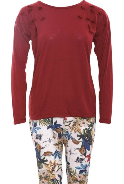 Lingabooms 9038 Kadın Pamuklu Çiçek Desenli Pijama Takım