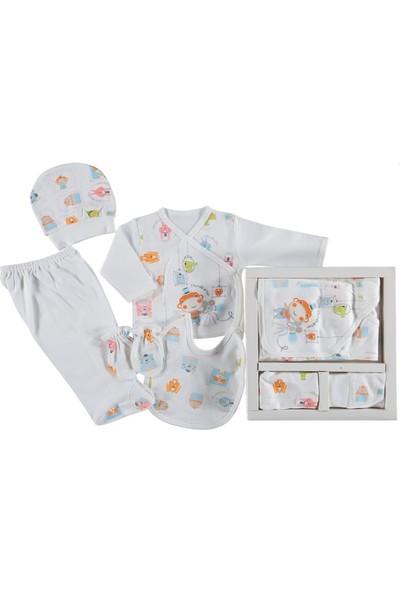 Leylek Kız Erkek Bebek Şapkalı İşlemeli 5 Parça Hastane Çıkışı 0 - 1 Ay