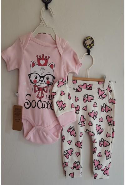 Baby Hi Kız Bebek Kalp Baskılı Body Takım 9 Ay