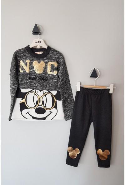 Midilli Kız Çoçuk Pul Payetli Mickey Mouse İkili takım 3 Yaş