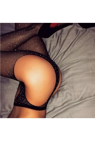 Cicişim Taşlı Jartiyer Görünümlü Seksi Külotlu Çorap Siyah