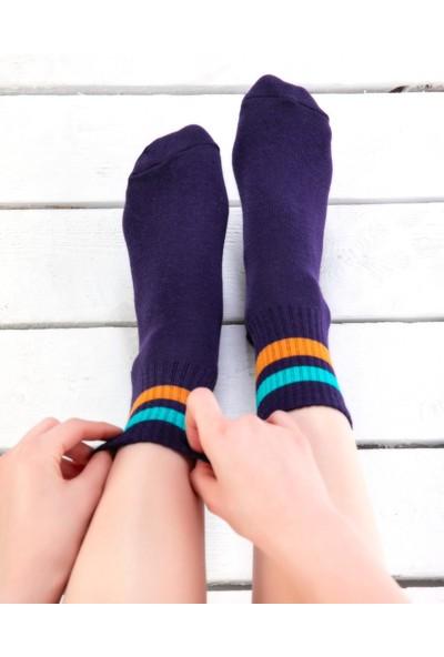 Socks Concept Serena Turkuaz-Turuncu Çizgili Mor Renk Tenis Çorabı