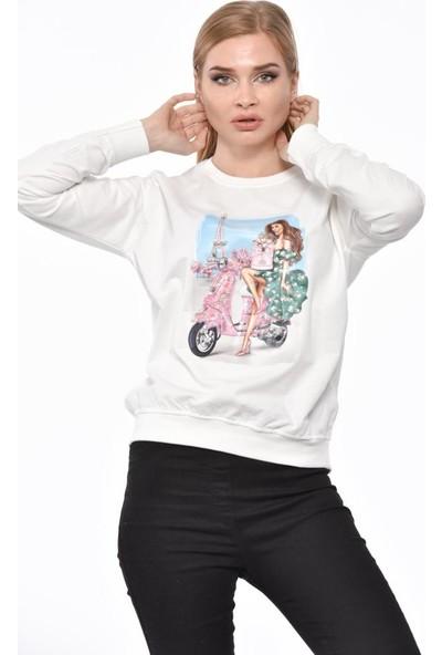 Modkofoni Bisiklet Yaka Uzun Kollu Motosiklet Baskılı Taşlı Ve Pullu Beyaz Tişört