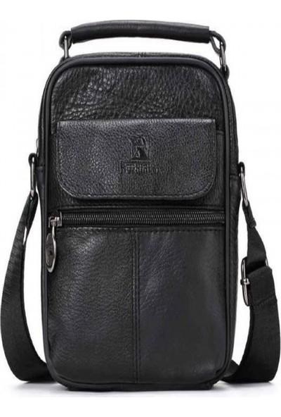 K&M King Men 2020 Trend (Genuine Leather) Erkek Çanta Askılı Postacı Çanta Tutma Kulplu