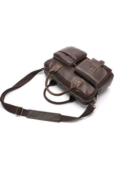 K&M King Men 2020 Trend Erkekler Deri (Genuine Leather) Omuz Askılı Evrak A4 Laptop (14 İnç) Çanta