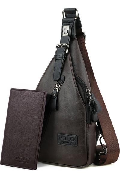 Vicuna Polo K&M King Men 2020 Trend Vicuna Polo Deri Erkek Çantası Çapraz Omuz Göğüs Ve Sırt Çantası Pu Leather