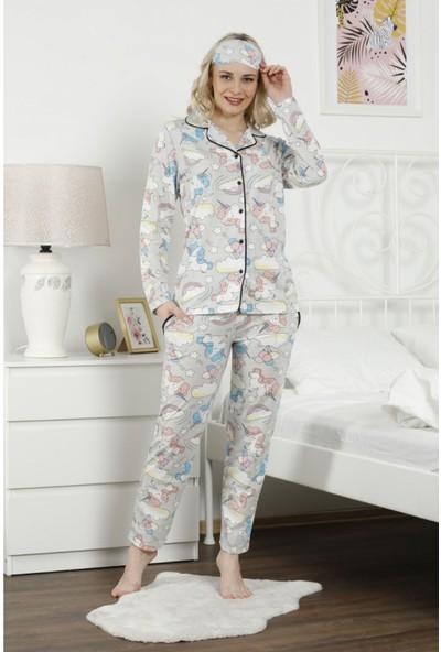 Pijama Evi Gri Unicorn Desenli Önden Düğmeli Uzun Kollu Pijama Takımı