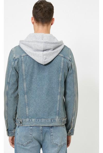 Koton Erkek Kapüşonlu Jean Ceket