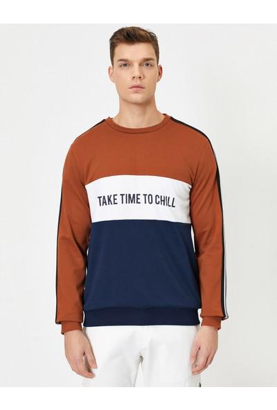 Koton Erkek Renk Bloklu Sweatshirt