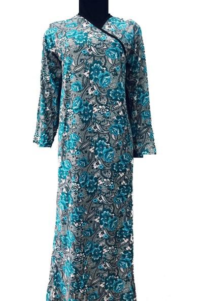 Hazal Namaz Elbisesi Turkuaz Çiçekli Renkli Xl