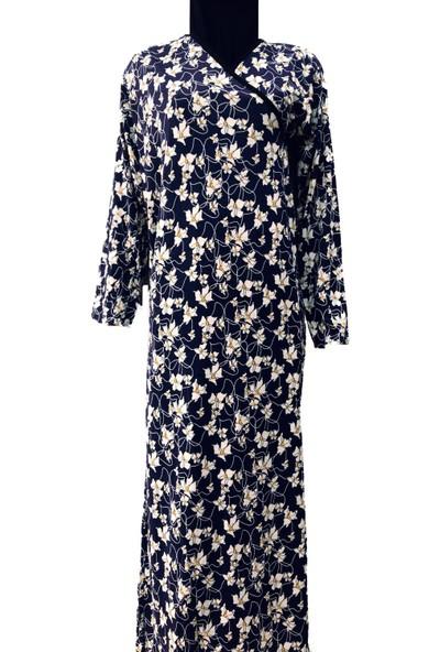 Hazal Namaz Elbisesi Lacivert Beyaz Çiçekli Renkli S - M