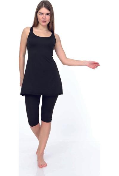 Estiva Kadın Düz Siyah Askılı Taytlı Elbise Mayo