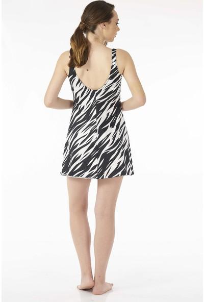 Estiva Kadın Zebra Siyah Şortlu Elbise Mayo