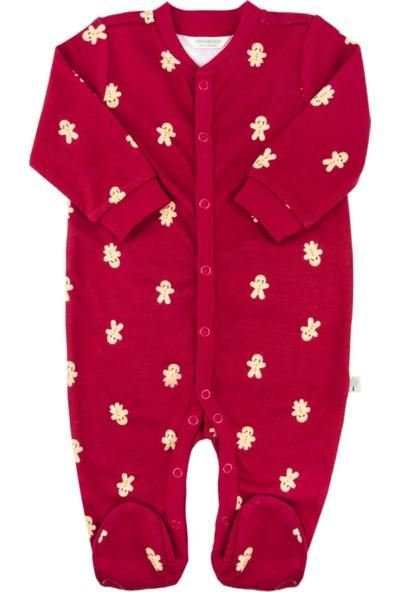 Organickid Kız/Erkek Bebek Ayaklı Tulum Organik Pamuk Sertifikalı 12-18 Ay - Gingerbread 10000-045