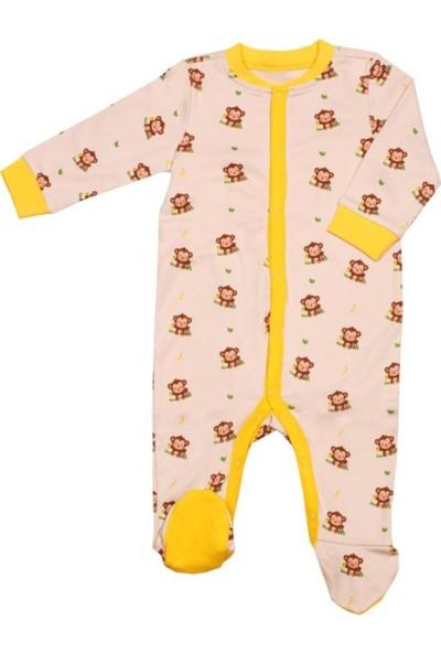 Organickid Kız/Erkek Bebek Ayaklı Tulum Organik Pamuk Sertifikalı 3-6 Ay - Monkey 10000-036