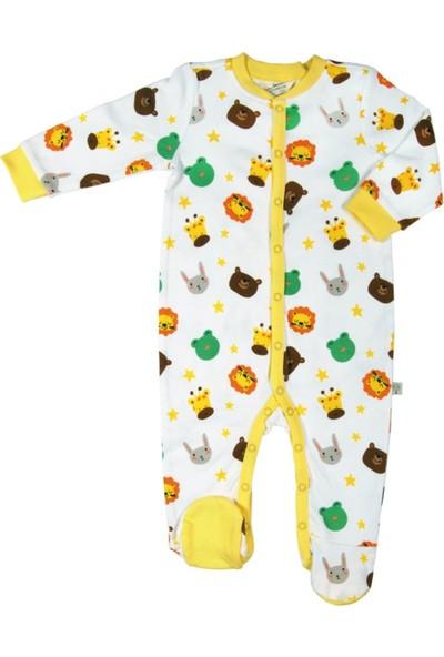 Organickid Kız/Erkek Bebek Ayaklı Tulum Organik Pamuk Sertifikalı 6-9 Ay - Zoo 10000-052