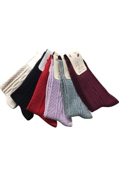 Diba Lambswool Kışlık Kabartma Desenli Yün Çorap