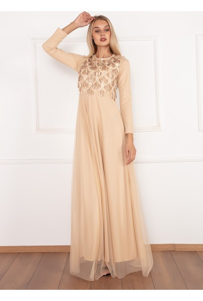 Kalopya Kadın Barbara 3908 Uzun Kollu Tül Pul Payet Uzun Elbise