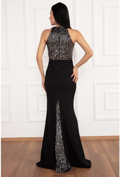 Kalopya Kadın Daisy 13015 Üst Pul Payet Alt Atlas Elbise