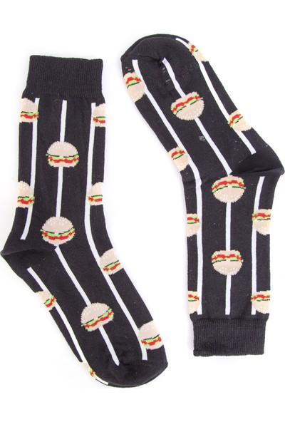 Nilumoda Çizgili Siyah Hamburger Desenli Renkli Soket Çorap