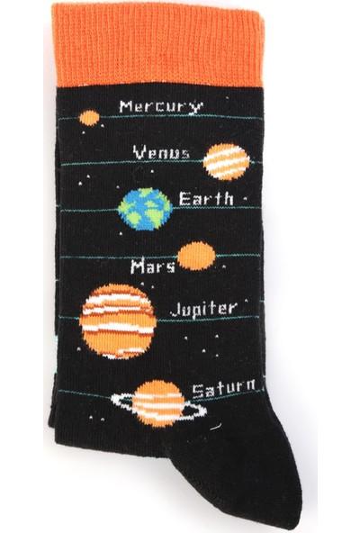 Nilumoda Siyah Gezegen Desenli Renkli Soket Çorap