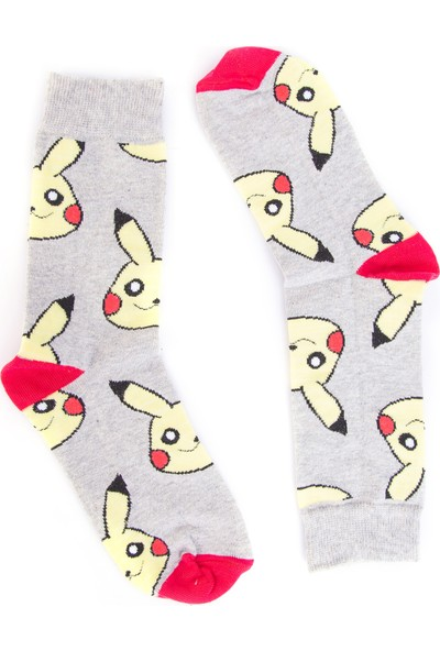 Nilumoda Gri Pikachu Desenli Renkli Soket Çorap