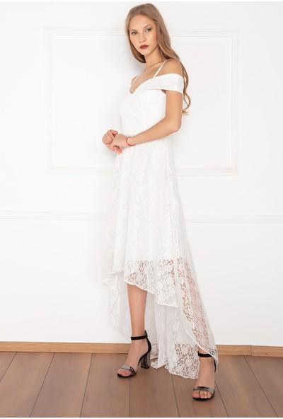 Kalopya Kadın Dantel 13112 Önü Asimetrik Kesim Elbise