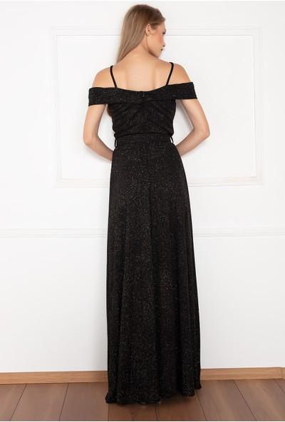 Kalopya Kadın Demet 13106 Simli Beli Kemerli Uzun Elbise