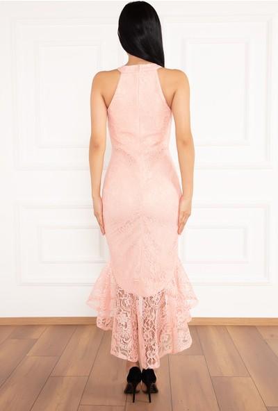 Kalopya Kadın Dixie 13208 Dantel Eteği Volanlı Elbise