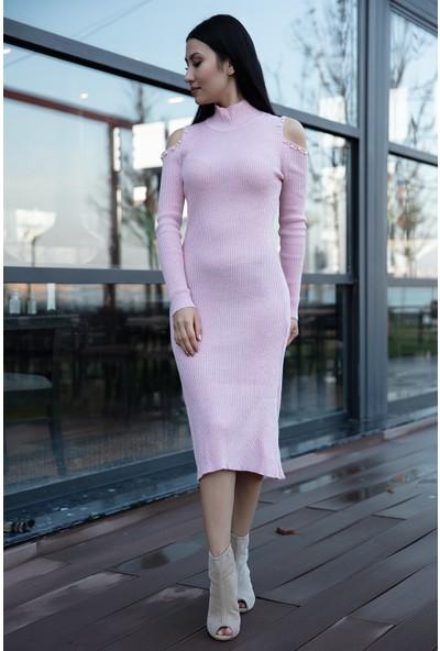 Kalopya Kadın Emilie 15201 Simli Boncuklu Triko Elbise