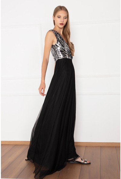 Kalopya Kadın Fenil 13127 Üstü Pul Payet Altı Tül Uzun Elbise