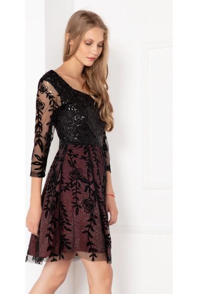Kalopya Kadın Feyza 13151 Pul Palet Tül Desenli Elbise