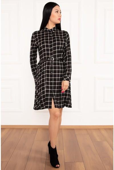 Kalopya Kadın Gömlek 3995 Ekoseli Uzun Kol Elbise