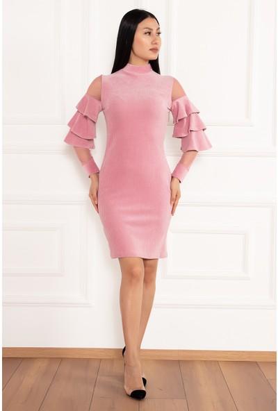 Kalopya Kadın Hacto 3970 Kolları Fırfırlı Fitilli Kadife Elbise