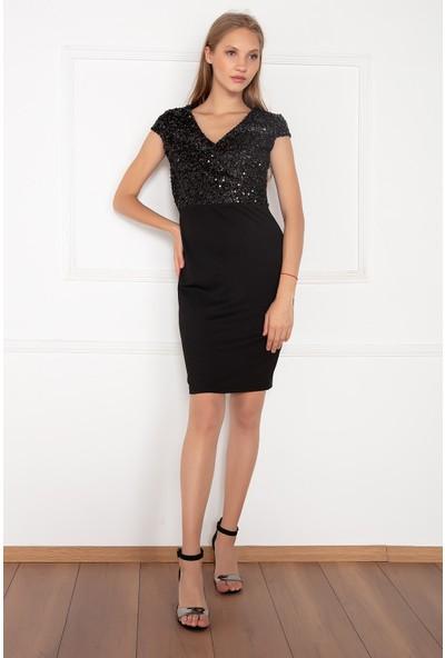 Kalopya Kadın Hale 13119 Pul Payet V Yaka Dalgıç Elbise