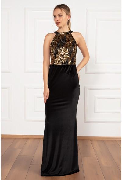 Kalopya Kadın Hatsepsut 13196 Kadife Pul Payet Balık Elbise