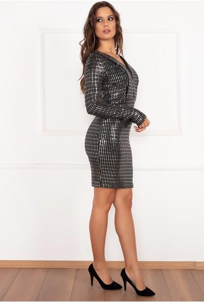 Kalopya Kadın Ibbie 13169 Pullu V Yaka Kısa Elbise