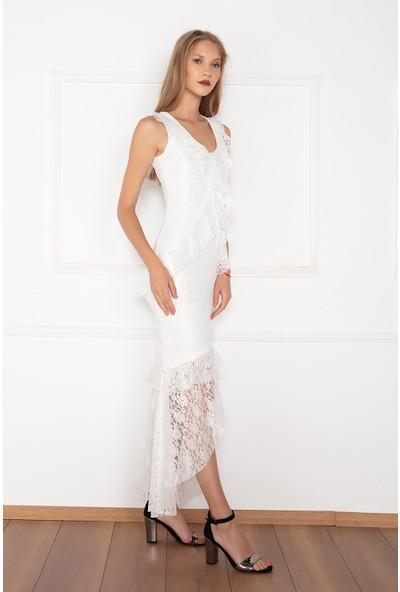 Kalopya Kadın İday 13126 Dantel Uzun Elbise