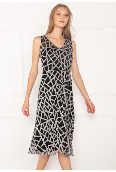 Kalopya Kadın Jade 13041 Simli Tül Kısa Elbise