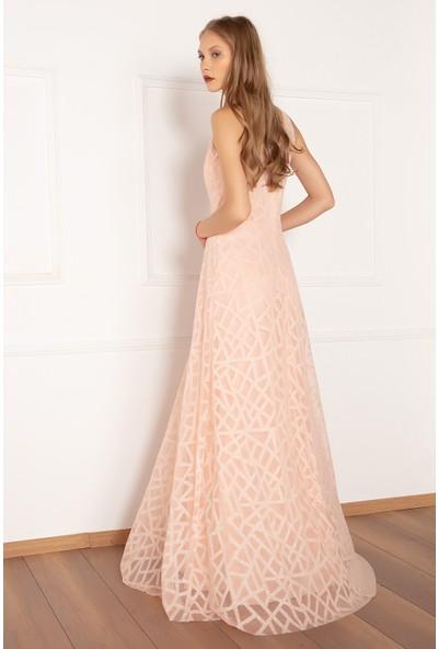 Kalopya Kadın Jesica 13049 Simli Tül Uzun Elbise