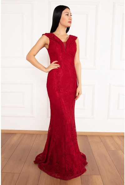 Kalopya Kadın Joyce 13228 Uzun Dantel Elbise