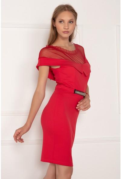 Kalopya Kadın Katarin 13068 Yakası Tül Beki Taşlı Kısa Elbise