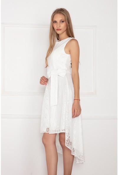 Kalopya Kadın Kinsey 13083 Eteği Asimetrik Kesim Dantel Elbise