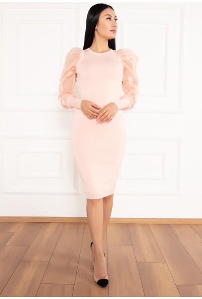 Kalopya Kadın Kol Şifon Ponponlu 5388 Elbise Triko